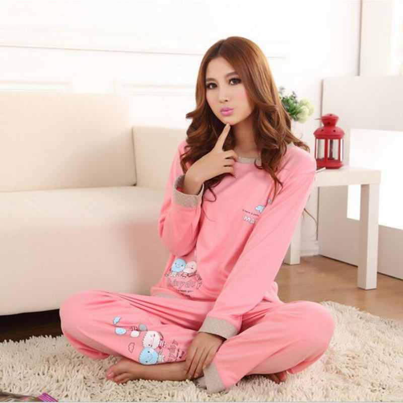 Brand new spring and autumn womens long-sleeved cotton pajamas cartoon pajamas girls pajamas womens casual wear