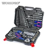 WORKPRO 123 шт. набор инструментов ручной для ремонта автомобиля, гаечный ключ набор торцевых механик инструменты