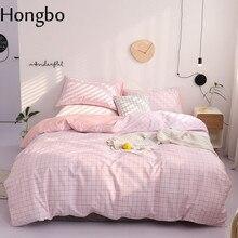 Hongbo Pink Grid Print 100% Cotton Duvet Cover Quilt Fat Sheet Pillowcase Set Queen Bedding