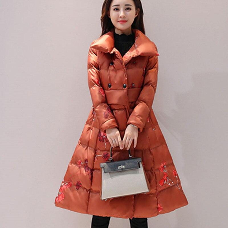 Rétro De A416 Chinois Impression Chaud Femmes 2018 Longueur Veste Manteau caramel rembourré Style Épais Black Femme Moyen Colour Type D'hiver Vêtements Un Coton SVUpzM