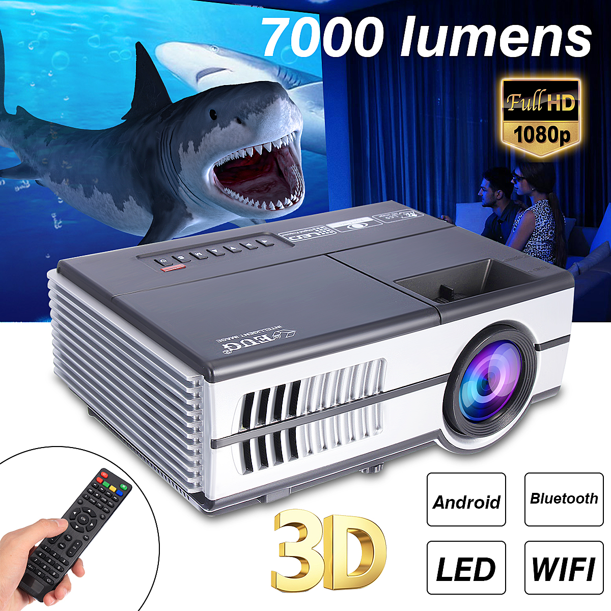 7000 Lumens Max 600DA/B LED Projector 1080P HD Video Stereo Speaker 3D Multimedia Bluetooth WiFi TV Box Video Game Home Cinema