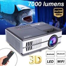 7000 Lumens Max 600DA/B LED Projector 1080P HD Video Stereo Speaker 3D Multimedia Bluetooth WiFi TV Box Video Game Home Cinema