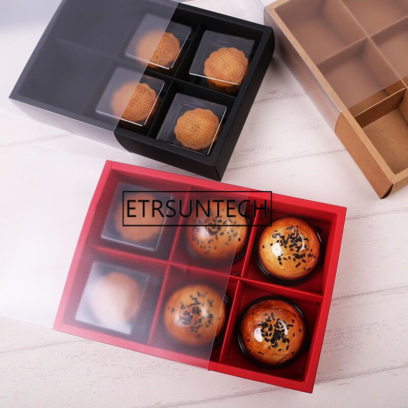 100pcs/lot Transparent Black Red Brown Cake Box Dessert Macarons Mooncake Boxes Pastry Packaging Boxes