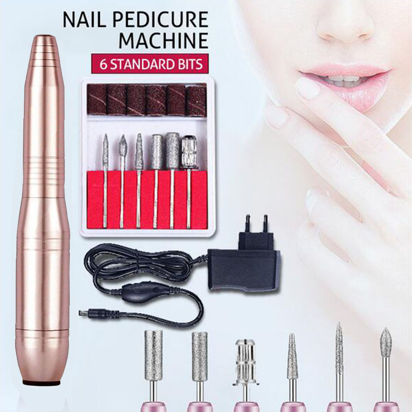 Portable Nail Drill Machine Set with Drill Bits Electric Polish Grinding Machine Pen Dead Skin Remover Nail Art Manicure Tools nail art polish machine grinding needle bare headed sand ring set silver