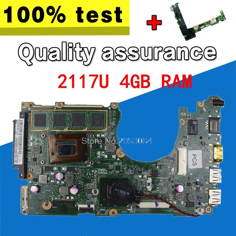 send board+X202E REV 2.0 2117U 4GB RAM for ASUS X202E Q200E motherboard X201E X201EP X202E S200E USB 3.0 REV2.0 Mainboard x202e q200e s200e x201e x202 dh31t laptop motherboard for asus 60 nfqmb1b01 a08 1 8ghz sr0n9 i3 2365m cpu board