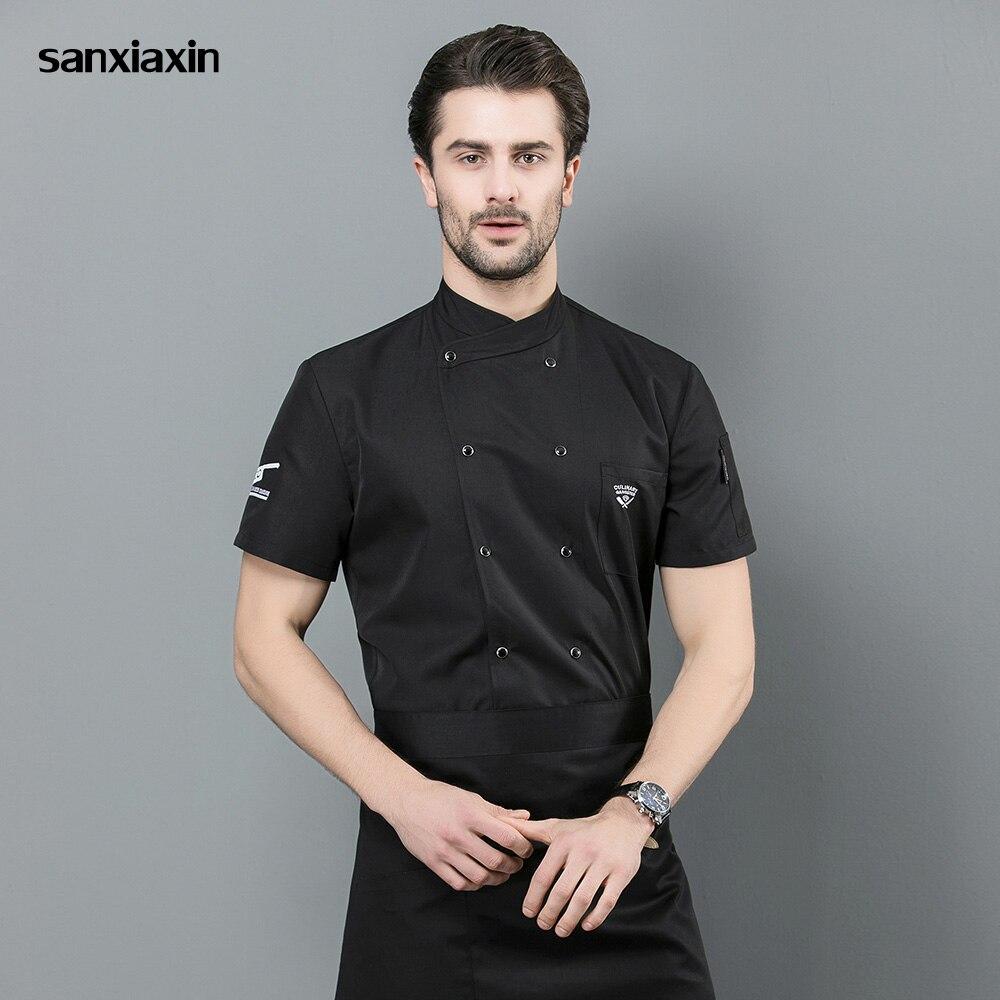 M-4XL Food Service Chef Uniform Double-breasted Hotel Catering Kitchen Chef Jacket Restaurant Uniform 3 Colors Waitress Uniform