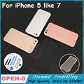 New Update For iPhone 7 mini  7style Color Housing Metal Middle Frame Battery Cover for iPhone 5 like 7 camera ring with glue