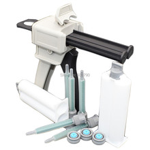1:1 Caulking Gun 50ml Cartridge Manual Applicator Dispensing Gun + 2pcs 50ml Cartridges + 5pcs 1:1 Cartridge Mix Tip Nozzles