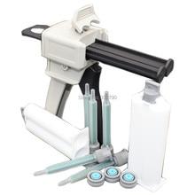 1:1 Caulking Gun 50ml Cartridge Manual Applicator Dispensing Gun + 2pcs 50ml Cartridges + 5pcs 1:1 Cartridge Mix Tip Nozzles