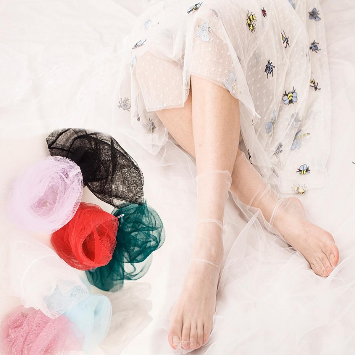 Glitter Mesh Women   Socks   Short   Socks   Shiny Harajuku Fashion Silk Female Soft Ladies Funny   Socks   Elastic Hosiery