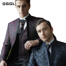 Classic Jacquard Men's Suits Groom Tuxedos Dress Slim Fit Wedding Business Suits For Men One Button 3 Piece Formal Casual Suit