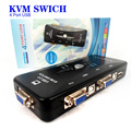 New Black 4 Port USB 2.0 KVM Switch Box Adapter Connects Printer Monitor Use 1 Set keyboard Mouse Control 4 Computers