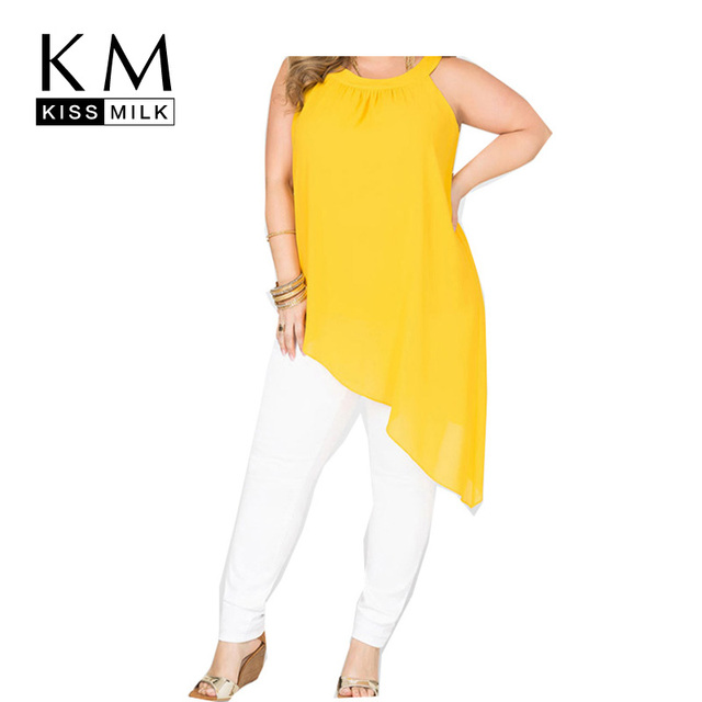 Kissmilk Plus Size New Fashion Women Shaping Personality Tank Big large Size Sexy Neck Cold Shoulder HemTank 3XL 4XL 5XL 6XL