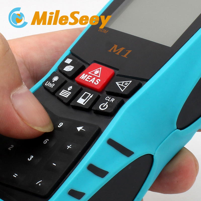 Rechargeable Laser Distance Meter Rangefinder M1 40M Area/Volume M/Ft/in Tool Blue Range Finder Measure Distance Tester