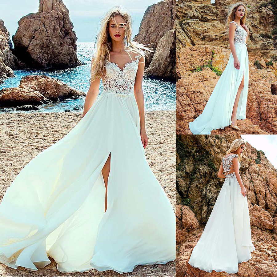 Modest Chiffon Scoop Neckline See-through A-line Wedding Dress With Lace Appliques & Bowknot Front Slit Bridal Dresses