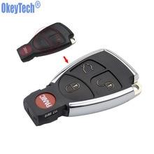 Okeytech 4 Пуговицы Новый стиль изменение Оболочки FOB чехол для Mercedes-Benz CLS CES 3 + 1 кнопка светлая сбоку с Батарея держатель