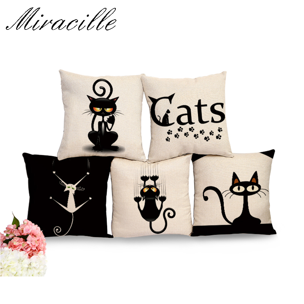 Miracille Square Cotton Linen Black Climbing Cat Animals