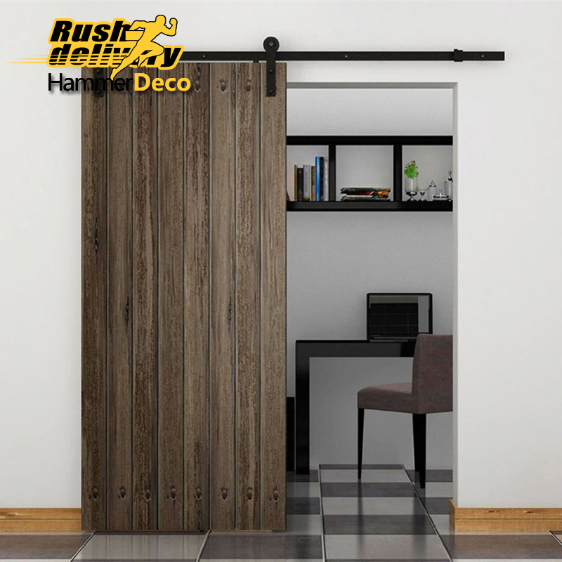 8ft black country american style straight design barn wood for Modern single door designs for houses