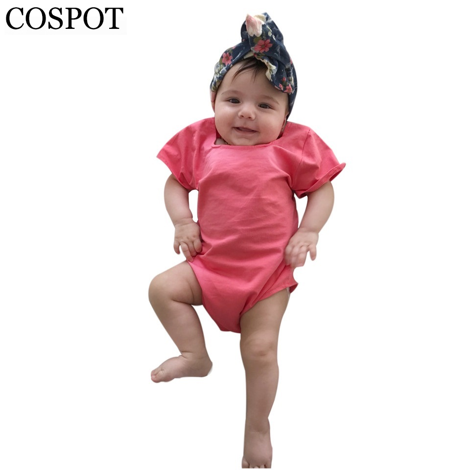 COSPOT Baby Girls Summer Romper Newborn Plain Red Jumpsuit Toddler Fashion Cotton Rompers Infant Jumper 2018 New Arrival F60