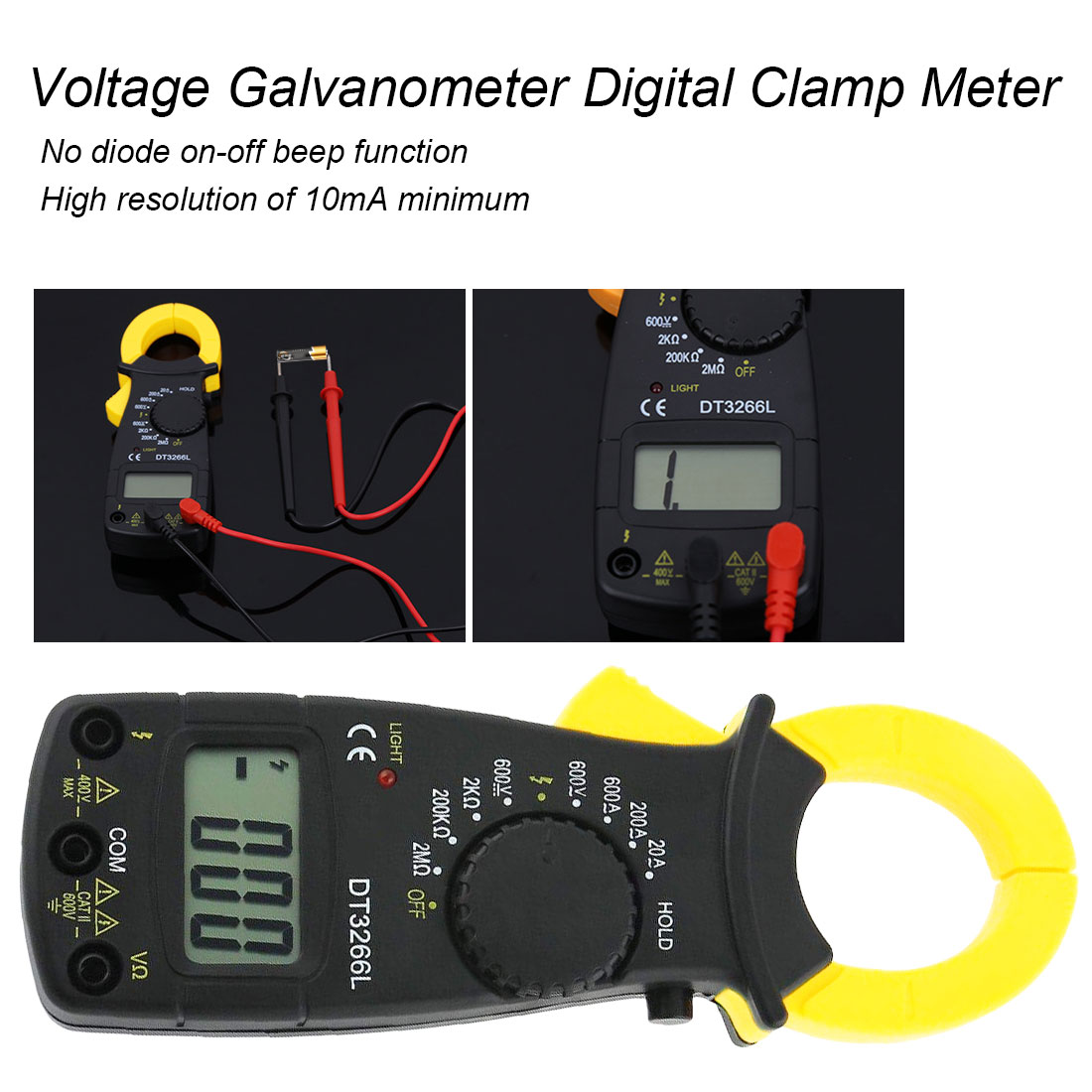 600A AC/DC Ohm Current Voltage Tester Digital Amper Clamp Meter Multimeter Current Clamp Pincers Voltmeter Ammeter