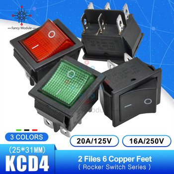 KCD4 125V 25*31mm 2 Files 6 Pins Feets Rocker Switch Power Touch On/off Ship Type Switch with light 16A 250V 30A 125V image