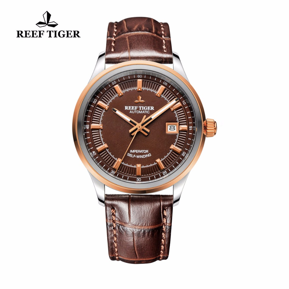все цены на Reef Tiger/RT Watches Hot Design Dress Business Watch Automatic Steel Case Rose Gold Brown Dial Watches Leather Band RGA8015 онлайн