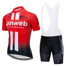 2020 equipe sunweb vermelho pro ciclismo camisa bibs shorts terno ropa ciclismo dos homens verão secagem rápida maillot wear