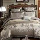 IvaRose Luxo conjunto de cama jacquard de seda conjuntos de cama de Prata 4/6 pcs rainha king size cama conjunto de folhas, cama definir a roupa de cama