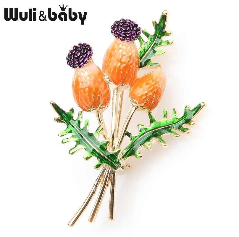 Женская/мужская брошь в виде букета Wuli&baby, металлическая эмалированная брошь в форме букета тюльпанов, оранжевого и синего цвета, брошь для банкета или свадьбы, подарок на рождество