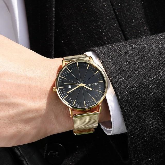 Luxury Black Mesh Steel Quartz Watch for Man  4