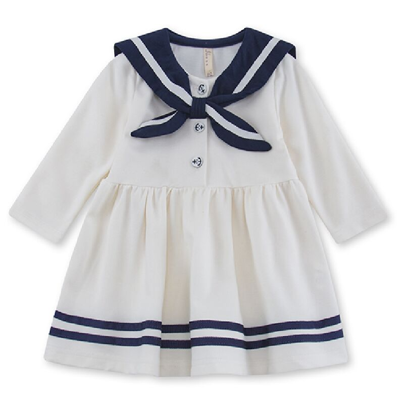 2017 Preppy style infant girl dress baby girls clothes cotton baby girl christening gowns baby dress white 0-2 yrs navy white navy style cotton clothes for dog apparel pet clothes deep blue yellow white red size l