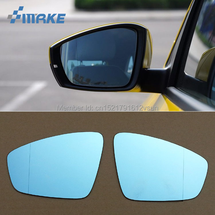 smRKE 2Pcs For Volkswagen Polo Rearview Mirror Blue Glasses Wide Angle Led Turn Signals light Power Heating