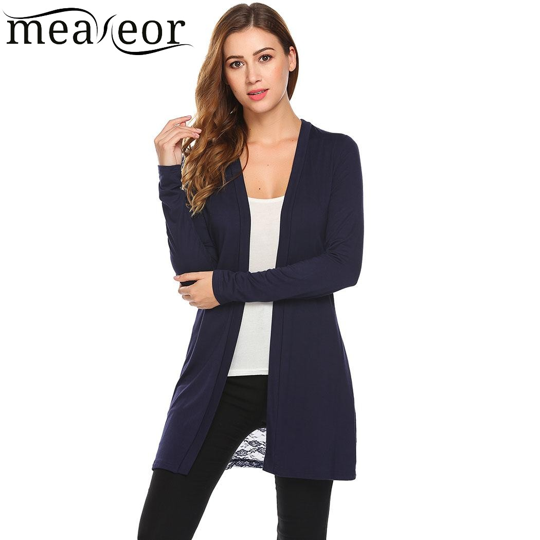 Meaneor Women Cardigan 2018 Spring Long Sleeve Open Front Back Lace Hollow out Patchwork Slim Feminino Casual Sweaters