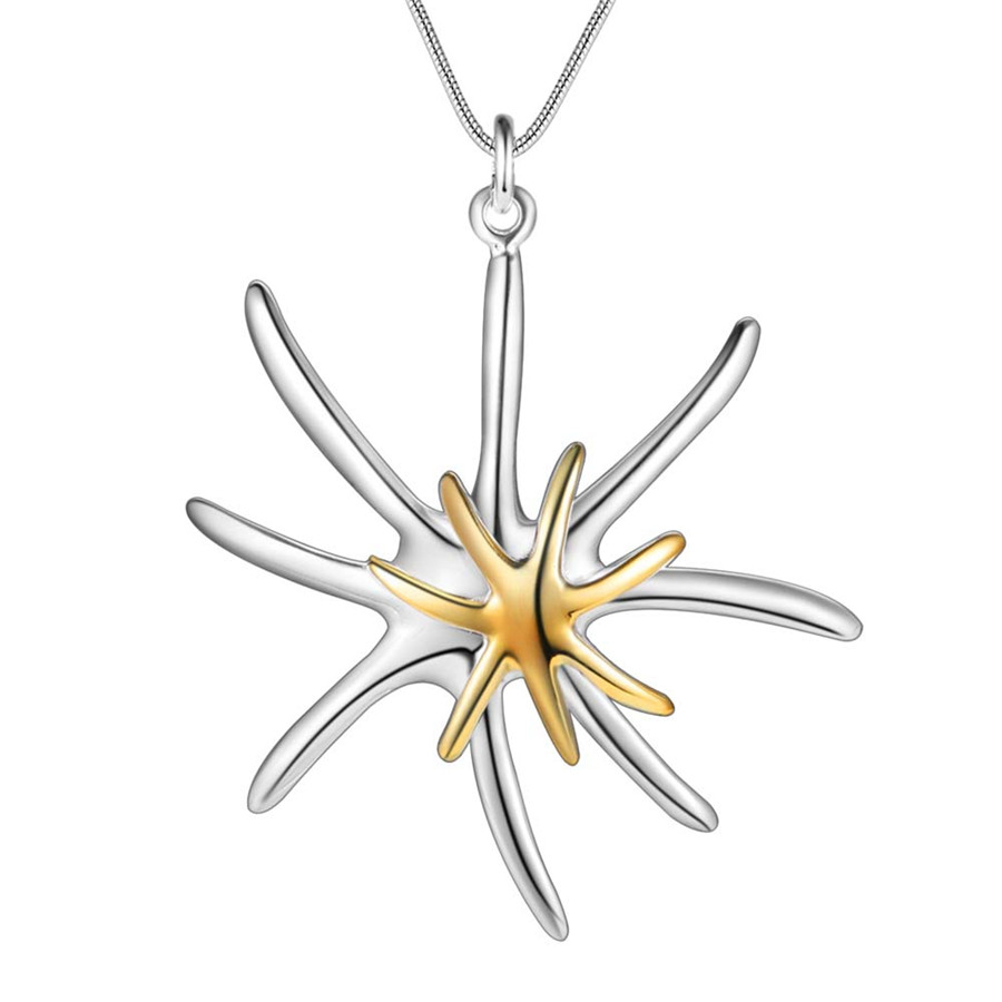 Promotions Free shipping silver plated jewelry fashion Elegant charm dichroic Starfish pendant Noble pretty Necklace P026 Kinsle
