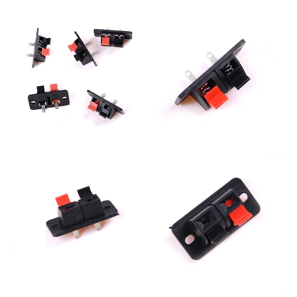 2 Positions 5 Pcs Spring Load Audio Speaker TerminalsTerminal Connector Push in Jack Male to Female WireConnector Quick