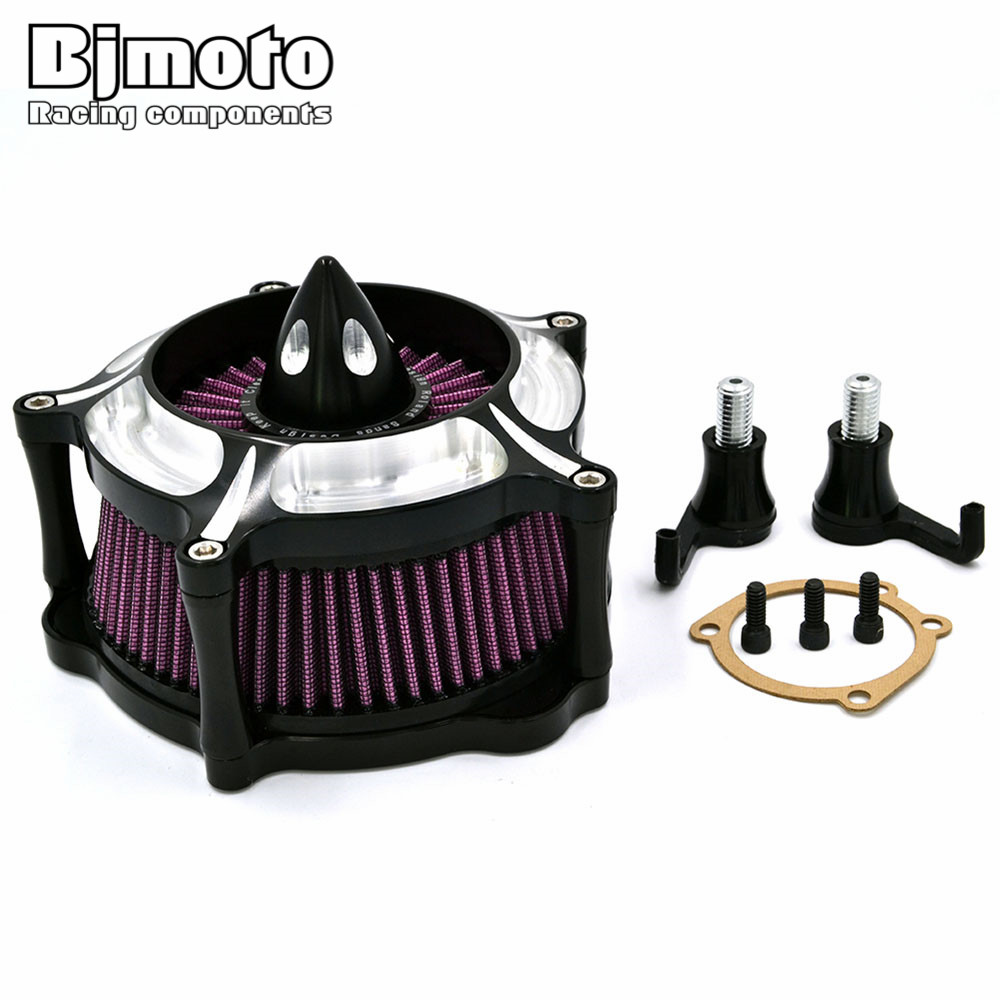 BJMOTO For Harley Sportster XL 883 2004-2016 XL 1200 1991-2016 Motorcycle Contrast Cut Turbine Air Cleaner Filter mtsooning timing cover and 1 derby cover for harley davidson xlh 883 sportster 1986 2004 xl 883 sportster custom 1998 2008 883l