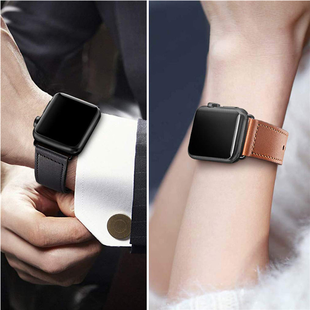 Genuine leather loop strap for apple watch band 42mm 44mm apple watch 4 38mm 40mm iwatch 3/2/1 correa replacement bracelet
