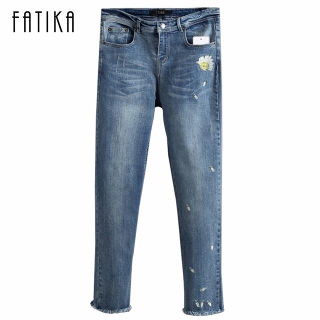 Nouvelle Broderie Fatika Denim Mode De Taille Pantalon Femmes Moyen qSwRwpxPE