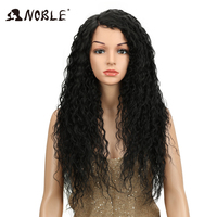 Noble Hair Soft Kinky Curly Natural Black Long Synthetic Lace Wigs For Black Women 26Inch Lace Front Heat Resistant Wigs