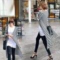 Dropshipping Women's Cotton long Sleeved stripe Cardigan Drape Collar Long Jackets Top Coat Black + White Dark Gray Black 36
