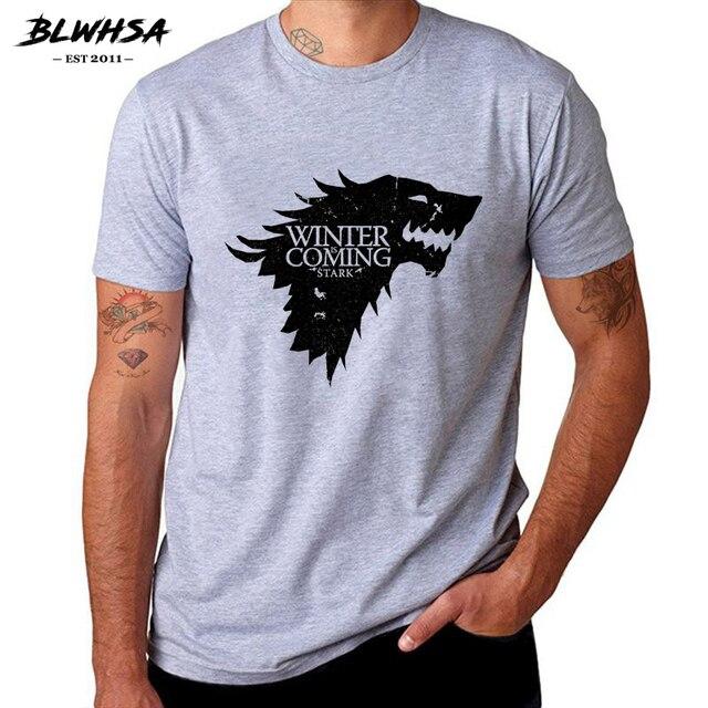 BLWHSA Estampa de Game Of Thrones O Inverno Está Vindo Stark Lobo Sangue Camisa de T dos homens Casuais de Algodão de Alta Qualidade T-Shirt Legal Para Homens
