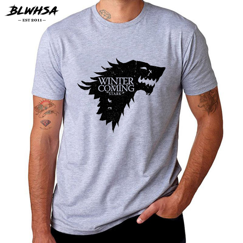 BLWHSA Game Of Thrones Print Winter Is Coming Stark Blood Wolf Men T Shirt Casual Cotton High Quality Cool T-Shirt For Men