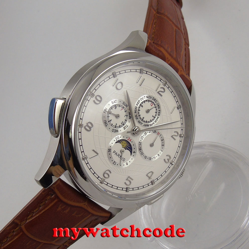 44mm parnis blanco dial plata números movimiento automático mecánico multifunción hombres reloj P117-in Relojes mecánicos from Relojes de pulsera    2