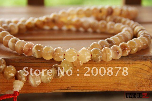 BRO834   Tibetan 108 beads Yak horn Mediation Mala,12mm,man`s prayer beads rosary,Free shipping