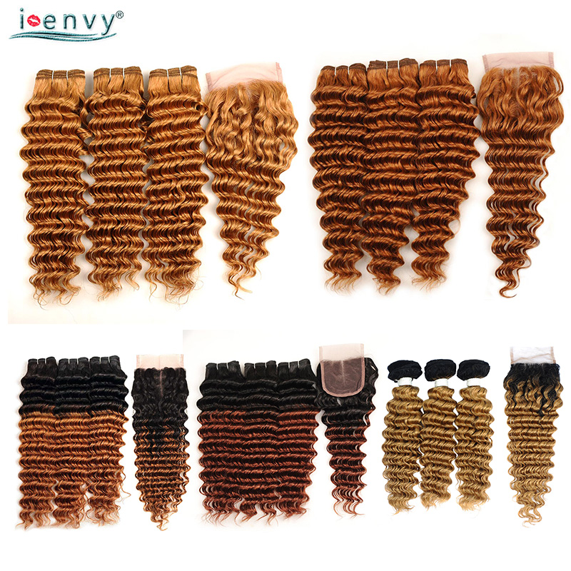 Blonde Deep Wave Bundles With Closure Brazilian Human Hair Weave Ombre Brown Blonde Bundles With Closure Colored Hair Non Remy