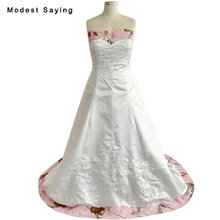 New Collection 2018 A-Line Floral Print Wedding Dresses Beaded Lace Bridal Dress Plus Size Satin Bridal Gowns vestido de noiva