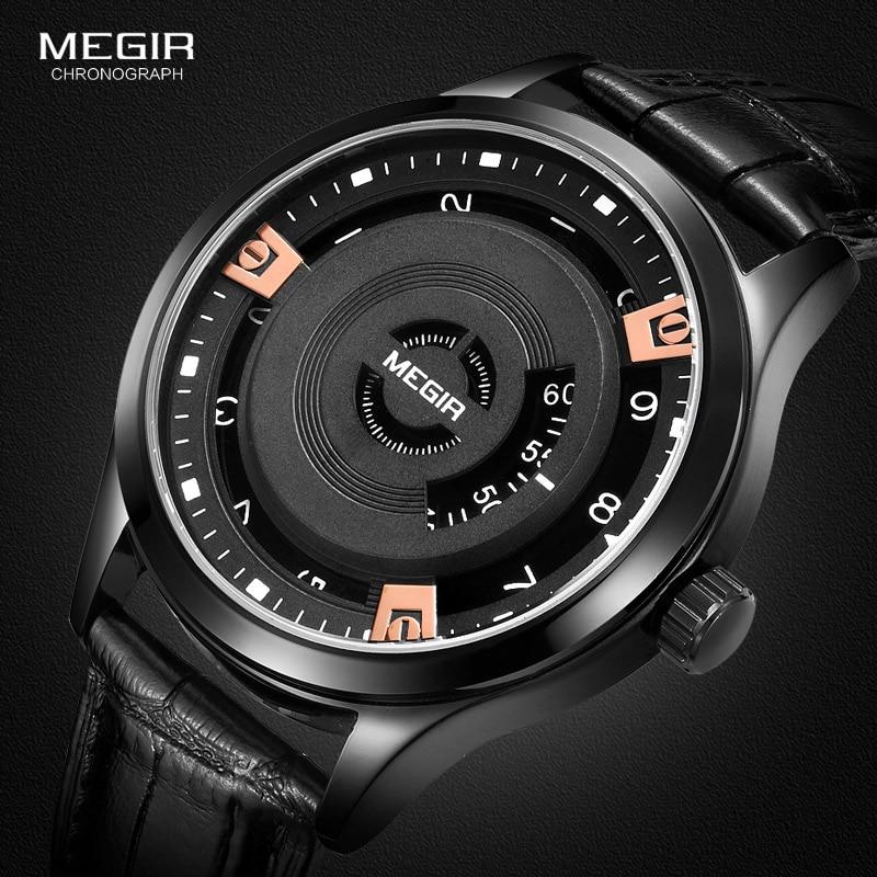 Megir Mens Fashion Black Leather Quartz Wristwatches Hot Water Resistant Battery Quartz Watch For Man Male1067