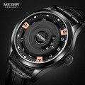 Megir Mens Moda Relógio De Quartzo Bateria de Couro Preto relógios de Pulso de Quartzo Resistente À Água Quente para o Homem Male1067