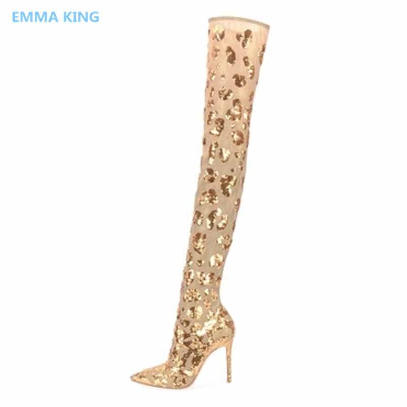 Bottes As Sur Mixte Shown Or Chaussures Hauts Femmes In Genou Bout Talons  La Pointu Chaussettes Longues Haute Femme ... b6f73bd75056