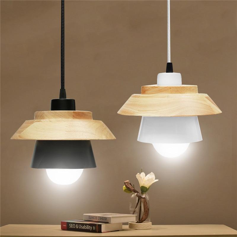 Smuxi E27 Modern Wood Pendant Lights Lamp Iron Shade Luminaire Dining Room Lights Pendant Lamp For Home Lighting